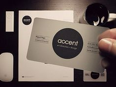A very smooth approach to #collateral Goes perfectly with the mac accessories and coffee cup. Ahh if only life looked as good as this Accent Creative Business Card