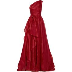 One-shoulder draped silk-gazar gown (€2.915) ❤ liked on Polyvore featuring dresses, gowns, long dresses, vestidos, long red evening dress, long red dress, marchesa gown, red evening dresses und one shoulder evening dress