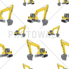 Excavators white - Tapetit / tapetti - Photowall