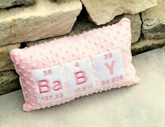 Baby Pink Chemistry periodic Table Pillow