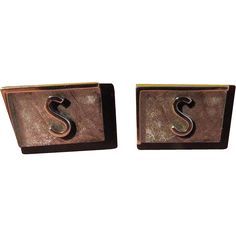 """""""S"""" Swank Initial Black and Silver tone Cuff links - Free…"""
