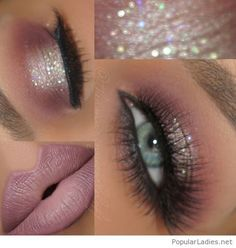 White glitter eye makeup with light pink lip color