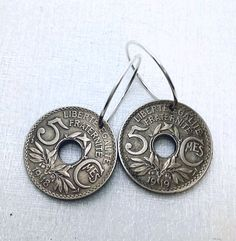 France earrings - antique COIN EARRINGS - French -  Republique Francaise - 5 centimes - Hoop earrings - France jewelry - French earrings by FindsAndFarthings on Etsy https://www.etsy.com/listing/210257130/france-earrings-antique-coin-earrings