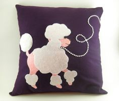 SOLD: Poodle throw pillow French poodle decorative by CleverRuthie, $20.00