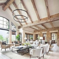 Neutral tones define this gorgeous contemporary rustic living room designed by Katy Allen Interior Design kathykuohome interiordesign livingroom homedecor ighome instahome rustic love Spacious Living Room, Home Living Room, Living Room Designs, Rustic Modern Living Room, Modern Cabin Interior, Modern Farmhouse Design, Living Room Ceiling Ideas, Rustic House Design, House Interior Design