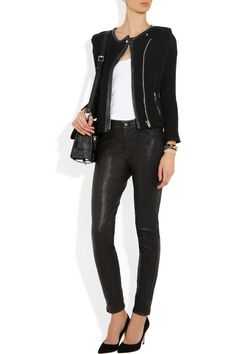 Jacket by IRO, Shoes by Gianvito Rossi, Bag by Proenza Schouler, James Perse Topand J Brand Pants