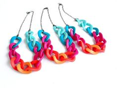 Neon Chain Statement Necklace, Polymer Clay Necklace, Oversized Chain Link Necklace op Etsy, 25,17 €