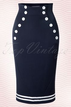 Miss Candyfloss Petra Sailor Skirt Navy 120 31 12873 20140422 Vintage Inspired Fashion, Retro Fashion, Vintage Fashion, Vintage Style, Vintage Modern, Retro Outfits, Classy Outfits, Classy Clothes, Style Clothes