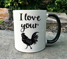 I love your cock coffee mug-funny rooster coffee mug-bird lover gift-chicken lovers gift-rooster mug-gift for him-gift for husband- cock mug Funny Coffee Mugs, Coffee Humor, Funny Mugs, Coffee Is Life, My Coffee, Coffee Cups, Morning Coffee, Coffee Maker, Unisex Baby Names