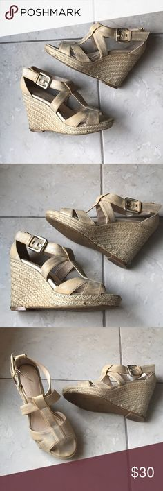 Calvin Klein Wedges Calvin Klein Creme Colored Wedges in size 6. Strappy and comfortable! Gently Used. Size 6 Calvin Klein Shoes