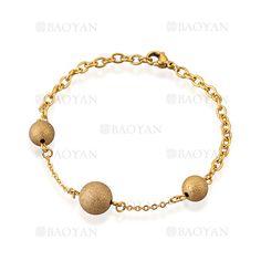 brazalete de bola brillante en acero dorado inoxidable -SSBTG544633