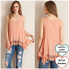 Peach Trapeze Tank Closet fav! Absolutely gorgeous! I know you will love it! Nice material. Loose fitting. Looks great with jeans or leggings! Perfume bottle necklace is also for sale. ❤️ Fits standard sizes and measurements ❤️ Additional discount option in last photo ❤️ This item is available Tops Tank Tops