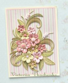 Quilling Card with delicate stylized Spring flowers - Birthday quilling Card - Spring flowers - QuillyVicky