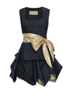 Kelly Ewing - Denim short hitched dress with a sparkly gold contrast sash that can wrap around once or twice and ties in a bow, thigh length short-hitched skirt with visible contrast golden reverse lining and a concealed side zip fastening – sits mid thigh length.   -