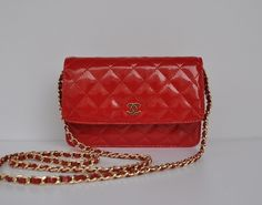 Chanel Shoulder Bags - SAVING High quality materials well-designed Low Price Chanel A33814 golden chain red patent leather shoulder bag