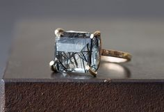 Emerald-Cut Tourmaline in Quartz Ring by LexLuxe on Etsy
