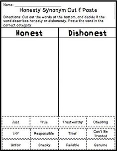 Honesty Worksheet
