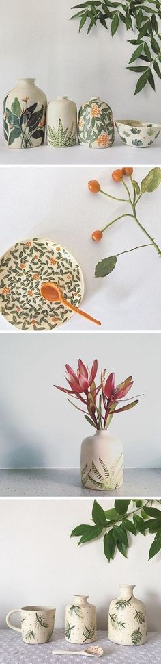 ceramic painting My latest ceramic crush: beautiful, botanical pieces by Ayesha Aggarwal. Plates, vased, bowls and more, adorned with hand-painted botanicals. Ceramic Clay, Ceramic Plates, Ceramic Pottery, Pottery Art, Slab Pottery, Pottery Studio, Pottery Painting, Ceramic Painting, Keramik Design