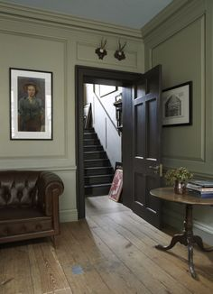41 ideas painted wood walls paneling farrow ball for 2019 Olive Green Paints, Sage Green Paint, Green Paint Colors, Olive Green Walls, Grey Paint, Neutral Paint, Drawing Room Blue, Architectural Features, Room Paint