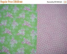 ON SALE Easter Table Runner Bunnies on Green Padded