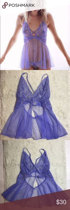 VS Small Blue Babydoll Unlined sheer Victoria's Secret Intimates & Sleepwear Chemises & Slips