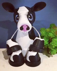 Miniature Outdoor Indoor Terracotta Pot Cow Garden Or Home Decor Terracotta Flower Pots, Pig Roast, Cement Planters, Farm Gardens, Clay Pots, Indoor Outdoor, Daisy, Handmade Items, Miniatures