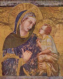 Pietro Lorenzetti: Madonna dei Tralonti, v 1330, Basilica of San Francesco d'Assisi, Assisi, Italy. - On possède peu d'éléments biographiques sur Pietro Lorenzetti et son frère Ambrogio; le 1° document connu remonte à l'année 1320, date à laquelle l'évêque Guido Tarlatti lui commanda pour l'église de la Pieve d'Arezzo le polyptyque qui se trouve encore à son emplacement d'origine.