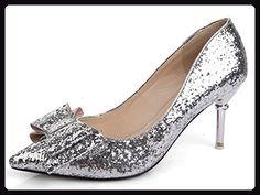 Aisun Damen Schleife Metallic Pailletten Low-Cut Spitz Stiletto Pumps Silber 37 EU - Damen pumps (*Partner-Link)