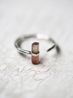 Cosmos Ring | Feminine and ethereal, this classic sterling silver ring was handmade by the designer in Brooklyn, NY. Features a peach tourmaline crystal stone. Malleable fit. *By Jene DeSpain