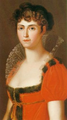 1806-1807 Karoline Bade  Caroline has adopted the Empire style with a wide lace ruff, a square bodice, and puffed sleeves. She wears a stylish cameo tiara.