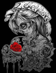 All About Art Tattoo Studio Rangiora. Quality work by Professional Artist. Chicano Tattoos, Chicano Art, Body Art Tattoos, Girl Tattoos, Tatoos, Chicano Drawings, Skull Drawings, Skull Girl Tattoo, Sugar Skull Tattoos