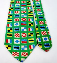 Abercrombie & Fitch Necktie Neck Tie 100% Silk Made in USA Nautical Flags Green #AbercrombieFitch #NeckTie