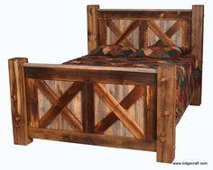 Barn Wood Pioneer Bed X Design, Natural Barnwood Bed, Rustic Bed, Rustic Furniture, Reclaimed Wood Bed by BlueRidgeLogWorks on Etsy Rustic Bedroom Furniture, Cabin Furniture, Rustic Bedding, Western Furniture, Antique Furniture, Modern Furniture, Outdoor Furniture, Furniture Plans, Kids Furniture