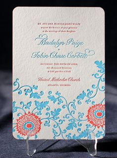 Ossa letterpress wedding invitation from Smock combines color and a floral design for a fun garden wedding. Customize yours with Paper Passionista.