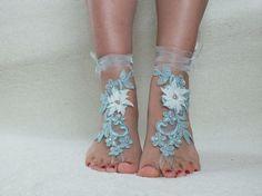 Plaj düğün yalınayak mavi sandalet