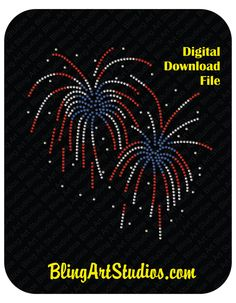 DIGITAL FILE for Fireworks Rhinestone Design, 4th of July, Patriotic, SVG File, Downloadable Design, Digital Rhinestone Design by BlingArtStudios on Etsy