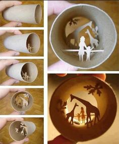 "very cool dimensional ""shadow"" art made from a toilet paper tube"