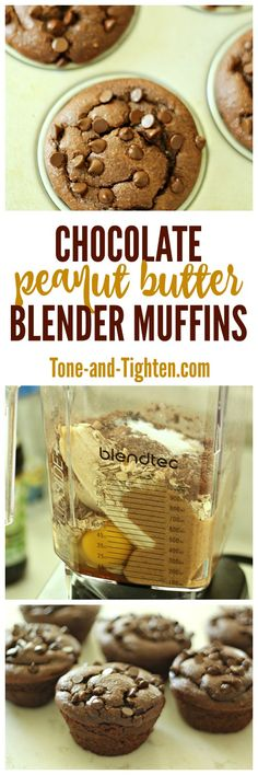 Delicious And Nutrititous - Chocolate Peanut Butter Banana Blender Muffins on Tone-and-Tighten Blender Recipes, Muffin Recipes, Breakfast Recipes, Dessert Recipes, Cooking Recipes, Jelly Recipes, Peanut Butter Banana, Chocolate Peanut Butter, Healthy Chocolate