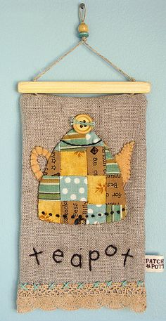 Patchworkteapot by Patchwork Pottery inspired Melissa Phillips stamped design Fabric Art, Fabric Crafts, Sewing Crafts, Sewing Projects, Patchwork Quilting, Applique Quilts, Embroidery Applique, Small Quilts, Mini Quilts