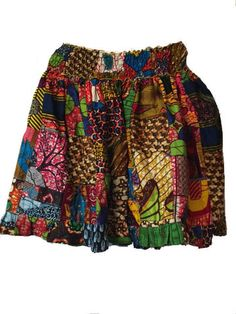 African Patch Short Skirt
