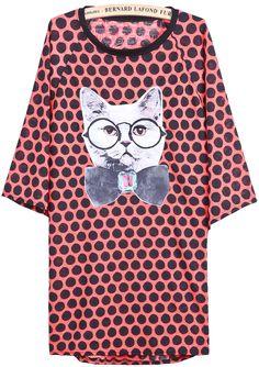 Orange Long Sleeve Polka Dot Cat Print Dress