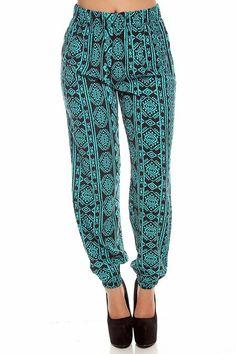 TEAL BLACk ELASTIC WAIST LEG CUFF PRINTED HAREM PANTS,Women Pants-Sexy Hot Pants,Tight Pants,Skinny Pants,Women Dress Pants,Work Pants,Casual Pants,Wide Leg Pants,Black  #printed pants,  teal black pants Yoga Harem Pants, Harem Trousers, Hot Pants, Skinny Pants, Women Pants, Printed Pants, Black Pants, Dress Pants, Casual Pants