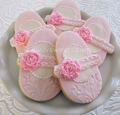 (via Baby pink shoe with rose accent by L sweets, via … | Cookie Collect…)
