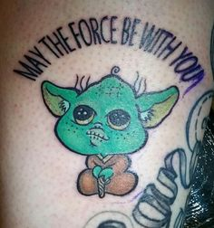 """Cute Yoda. Done at Le Planete Mars, Paris for the Tattoo Convention """"May the Ink be with You"""". mylooz.tatouage@gmail.com"""