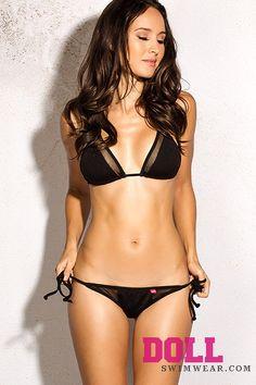 Hermosa Beach 2015 Solid Black Sheer Mesh Cutout Triangle Bikini Swimsuit