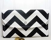 Chevron Wallet for cards and cash Zigzag stripes by PurpleGrace2