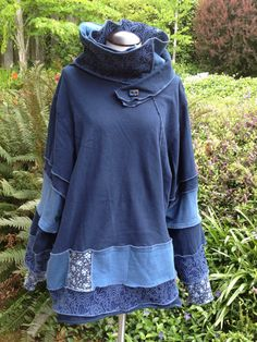 Upcycled Recycled CottonTunic with Scarf Cowl Neck Collar Boho Hippie Festival Wear Large to XL in Blues