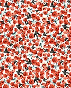 """I'd rather have roses on my table than diamonds on my neck"" - Emma Goldman (pattern design - Esther Lara) Pretty Patterns, Beautiful Patterns, Flower Patterns, Color Patterns, Motifs Textiles, Textile Patterns, Textile Prints, Red Pattern, Cute Pattern"