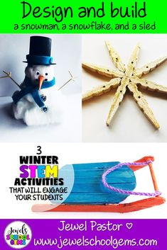 Regardless of whether you live in a place where it snows or not, your students will love designing and building with these winter STEM activities. Snow Activities, Winter Activities For Kids, Science Activities, Classroom Activities, Science Lessons, Stem For Kids, Cool Science Experiments, Stem Challenges, Teacher Blogs