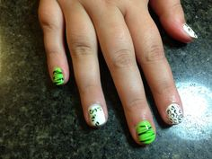 White and Lime green nail art with zebra stripes and leopard print
